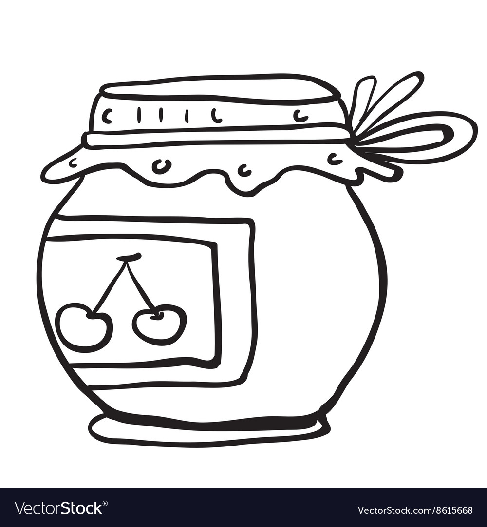 Simple black and white cherry jam jar.