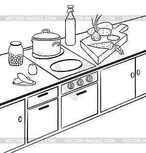 Black And White Clipart Kitchen.