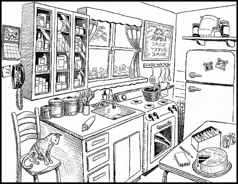 Free Kitchen Clipart Black And White, Download Free Clip Art.