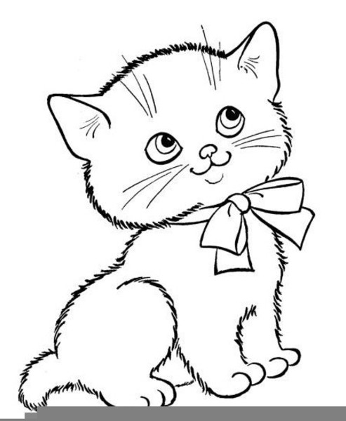 Kitten clipart black and white, Kitten black and white.