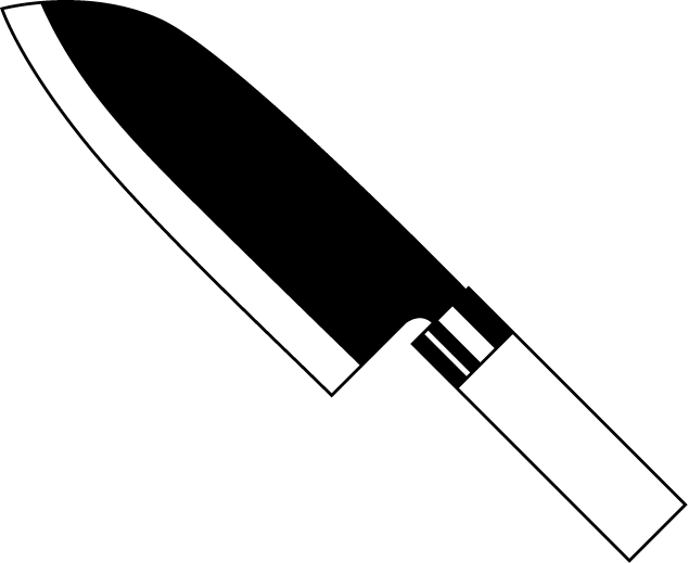 Chef Knife Black And White Clipart.