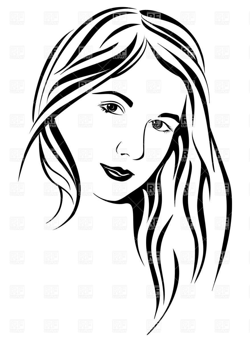 Lady Face Clipart Black And White.