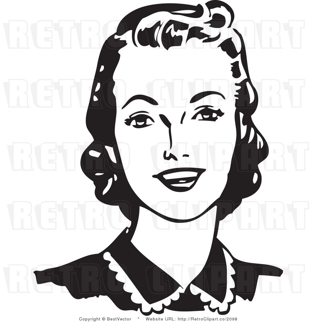 Retro Woman Face Clipart.