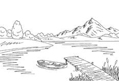 Black And White Clipart Lake.