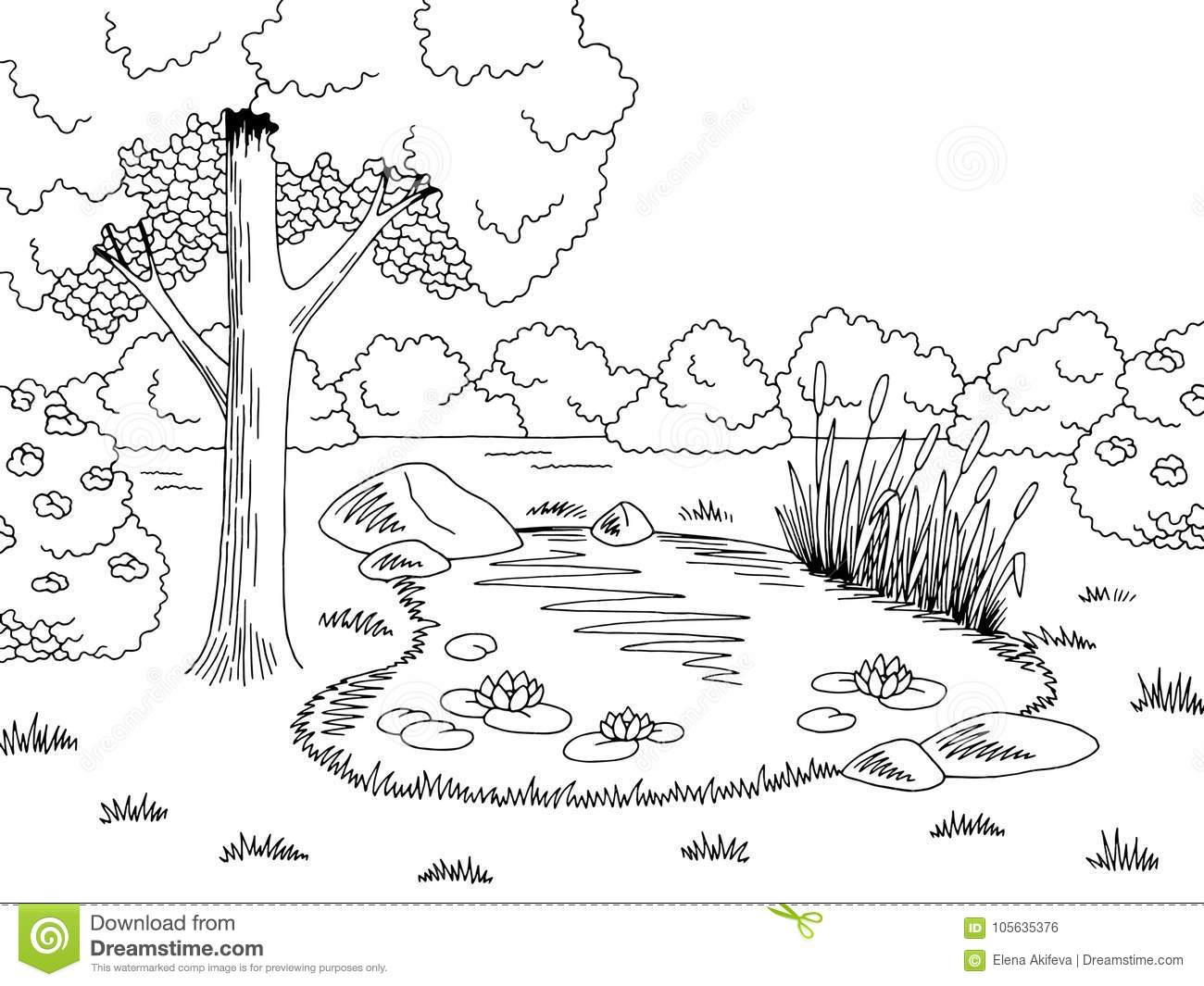Lake black and white clipart 2 » Clipart Station.