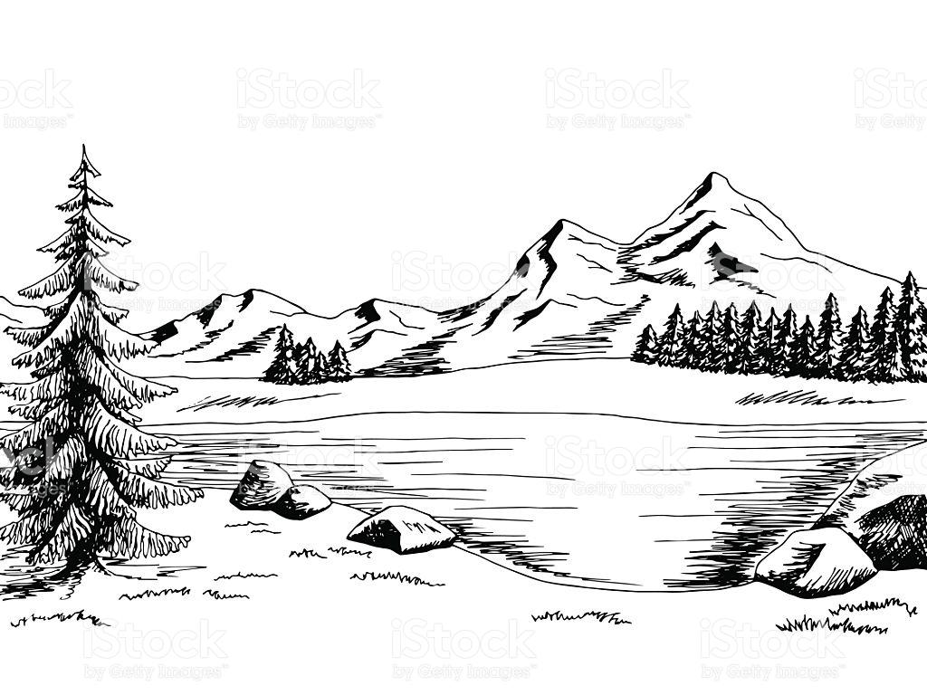 Black And White Landscape Clipart.