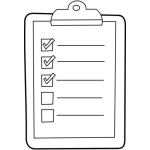 Checklist clipart black and white, Checklist black and white.