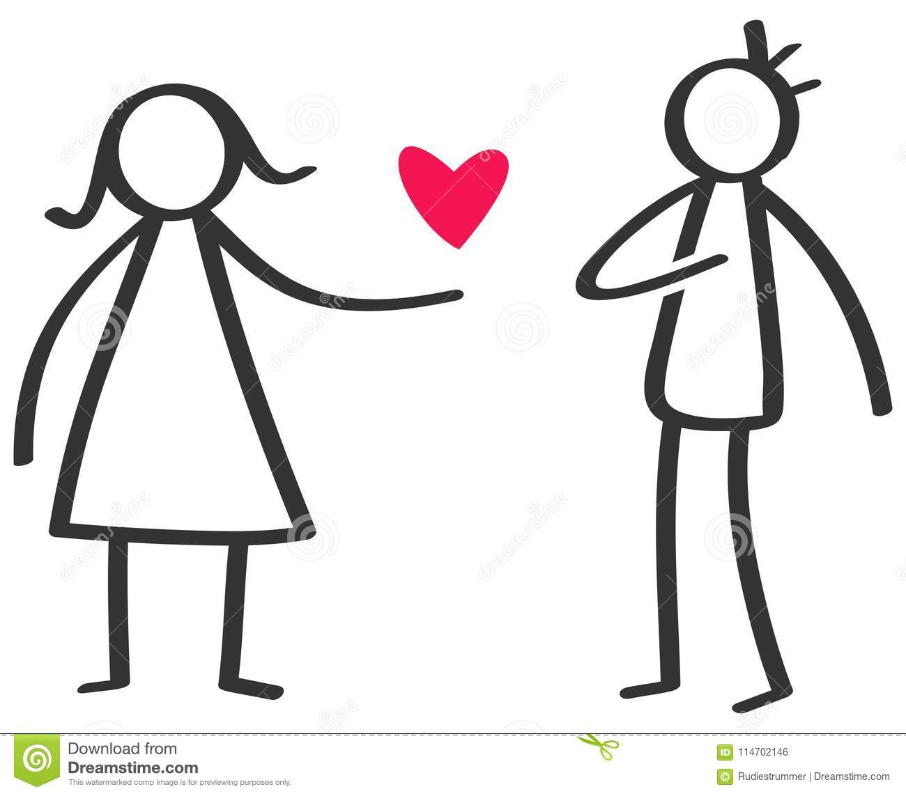 Simple Black And White Stick Figure Woman Giving Love Red Heart To.