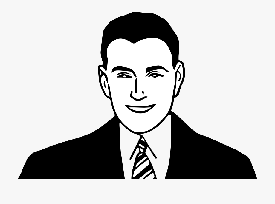 Free Black And White Clipart Man Happy Face.