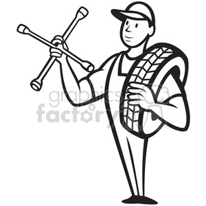 black and white mechanical carry tire shoulder wrench clipart. Royalty.