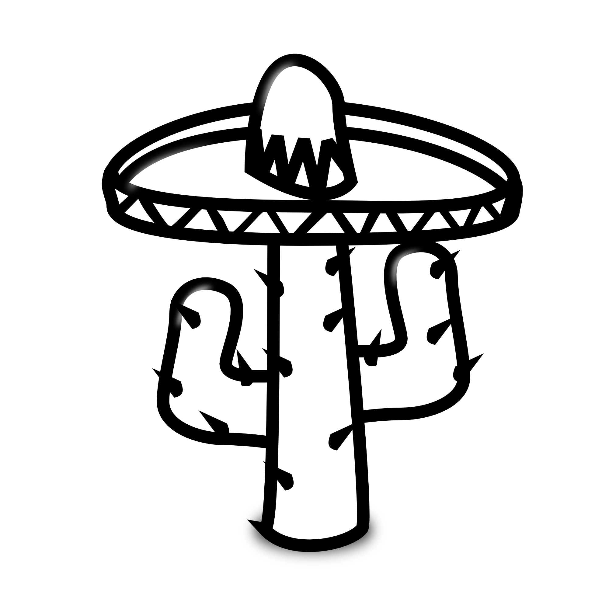 Mexican Cactus Clipart Black And White.