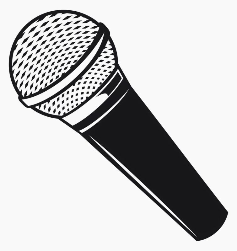 Black And White Microphone Clipart.