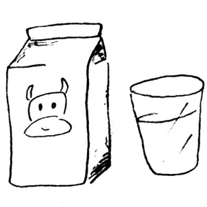 Milk black and white clipart kid.