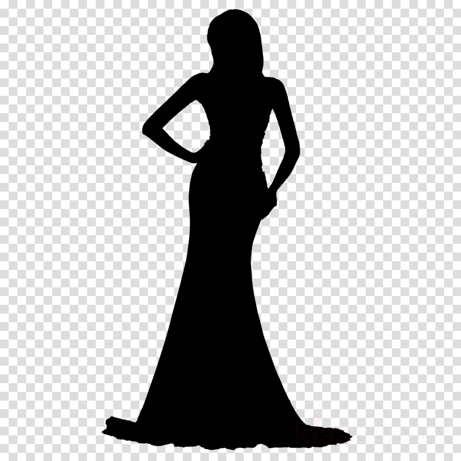woman clipart Gown Black & White.