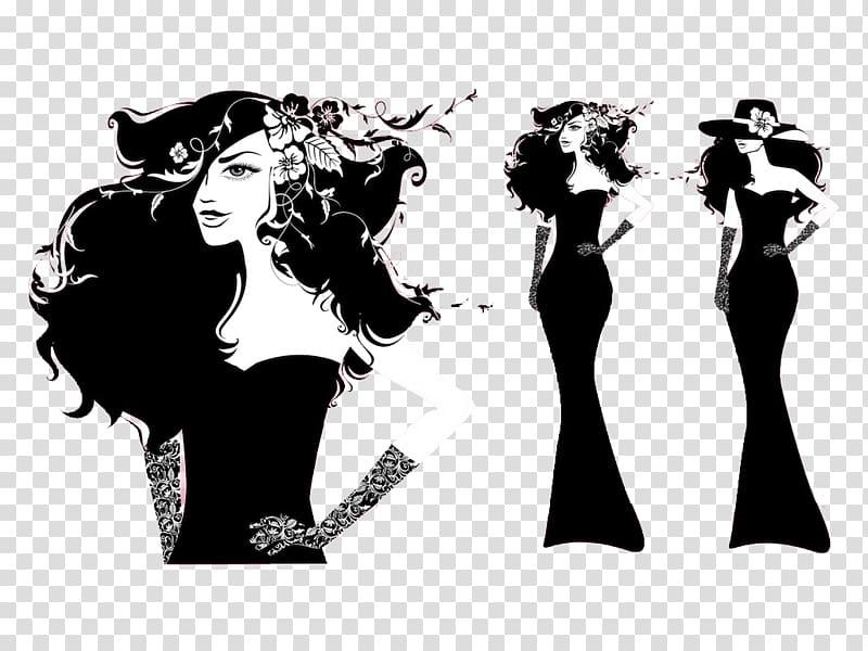 Fashion illustration Model Female, black and white model.