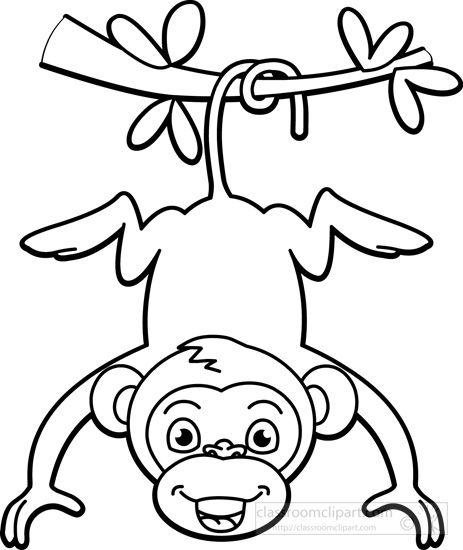 Monkey black white clipart.