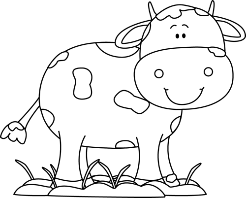 Black and White Cow in the Mud Clip Art.