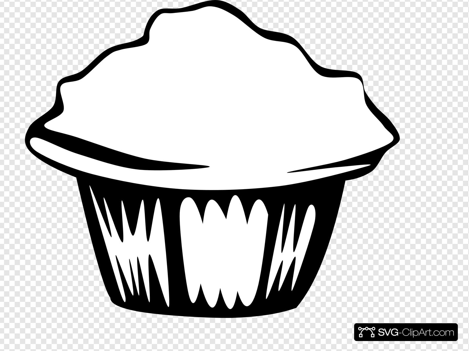 Muffin Black White Clip art, Icon and SVG.