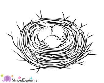 Bird Nest Black And White Clipart.