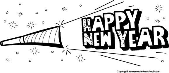 Black And White Clipart New Year Church.
