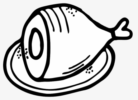 Free Ham Black And White Clip Art with No Background.