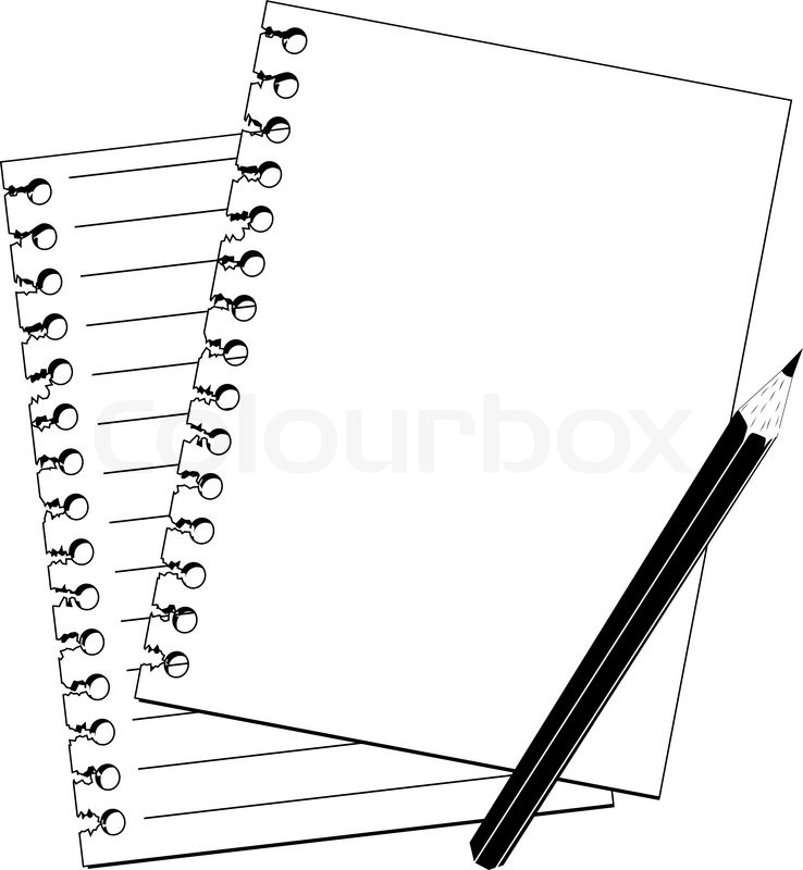 Notebook And Pencil Clipart Black And White.