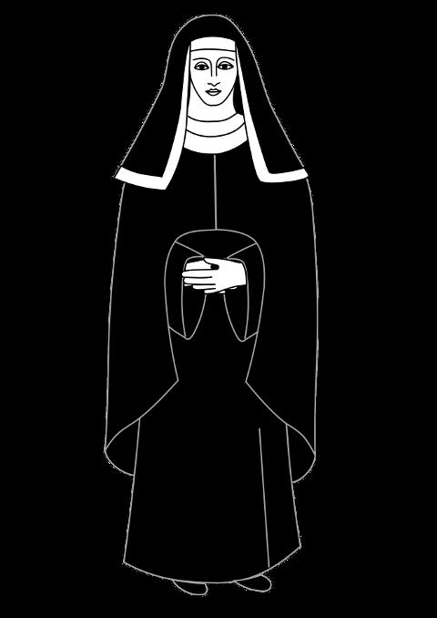 Nun clipart black and white, Nun black and white Transparent.