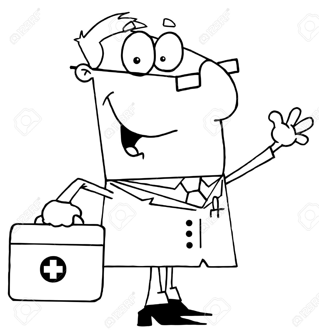 Clipart Illustration Of An Outlined Doctor Royalty Free Cliparts.