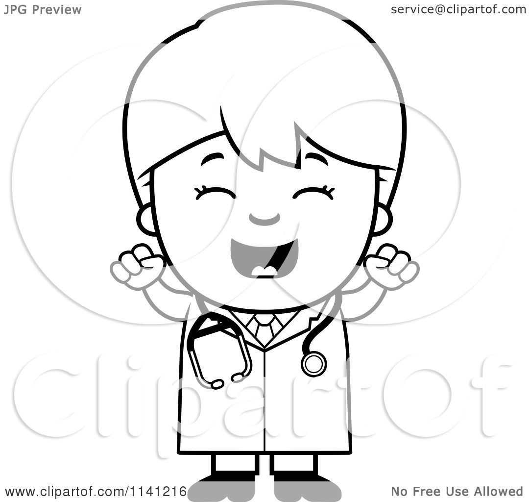 Cartoon Clipart Of A Black And White Happy Doctor Or Veterinarian.