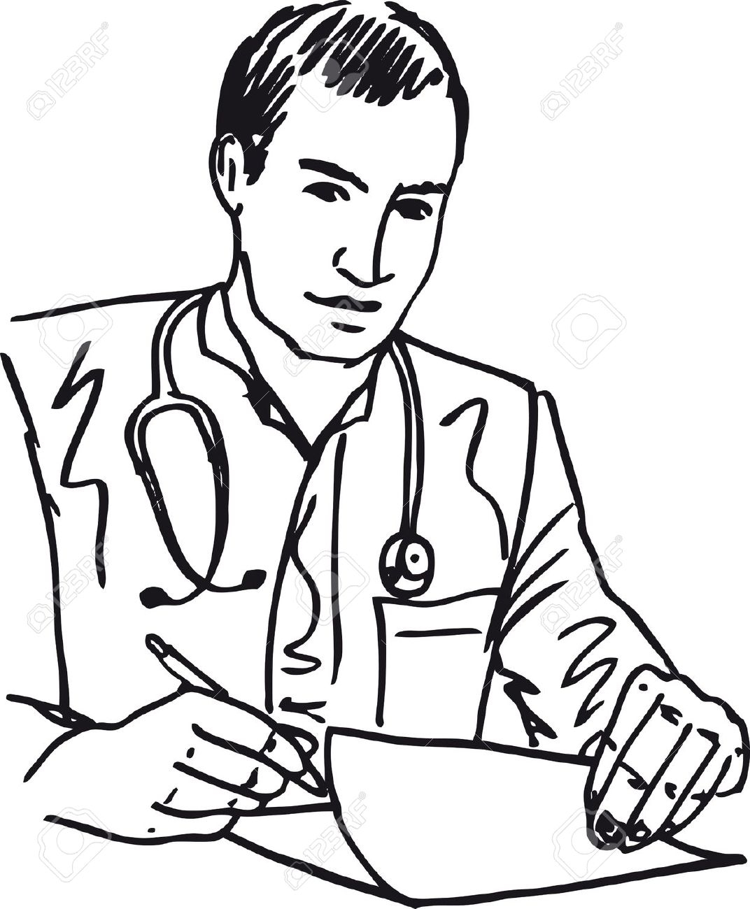Black And White Clipart Of Doctor.