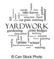 Stock Photography of Yardwork Word Cloud Concept with great terms.