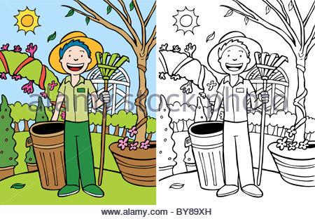 Cartoon image of man doing yard work.