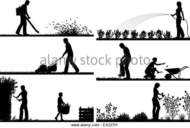 Yardwork Black and White Stock Photos & Images.