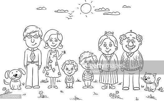 free clipart picture of my house and family black and white outlines.