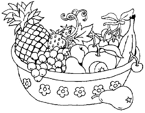 Fruits And Vegetables Basket Clipart Black And White.