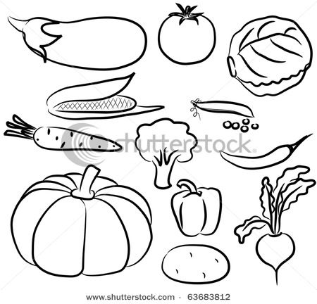 Fruits And Vegetables Clip Art Black And White Drawings Of.