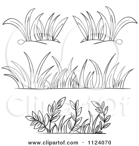 Grass Border Black And White Clipart.