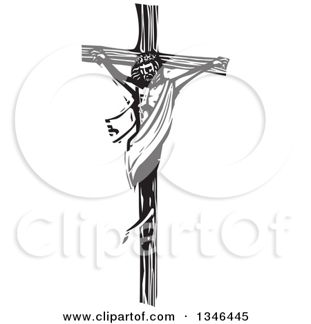Clipart of a Black and White Woodcut Jesus Christ Carrying a Cross.