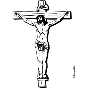 Clip Art Image: Picture of Jesus on the Cross (black and white.