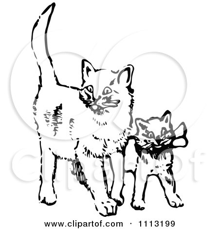 Clipart Vintage Black And White Cat And Kitten.
