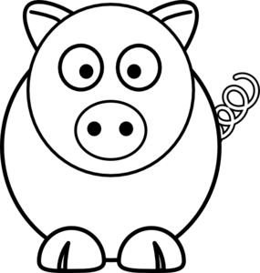 Cartoon Pig Black And White Clip Art at Clker.com.