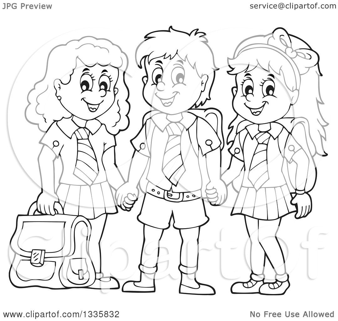 Clipart of Cartoon Black and White Happy School Children Wearing.