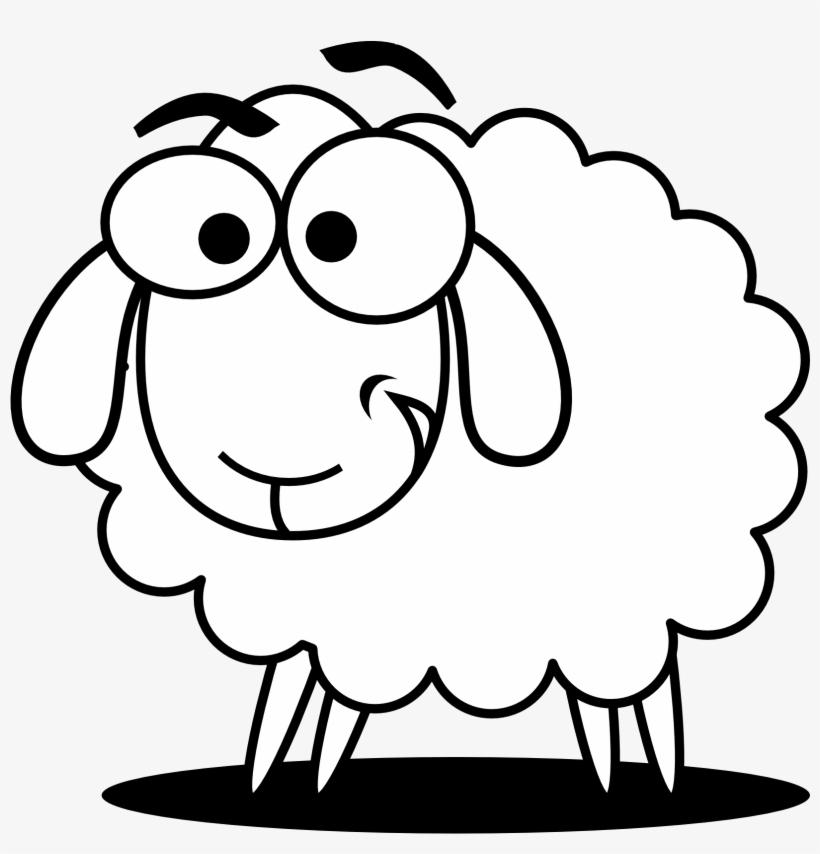 Funny Sheep Outline Clip Art.