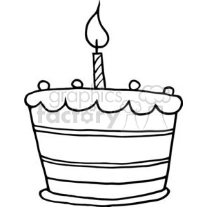 Black and White Birthday Cake One Candle clipart. Royalty.