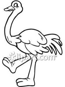 black and white clipart ostrich #9