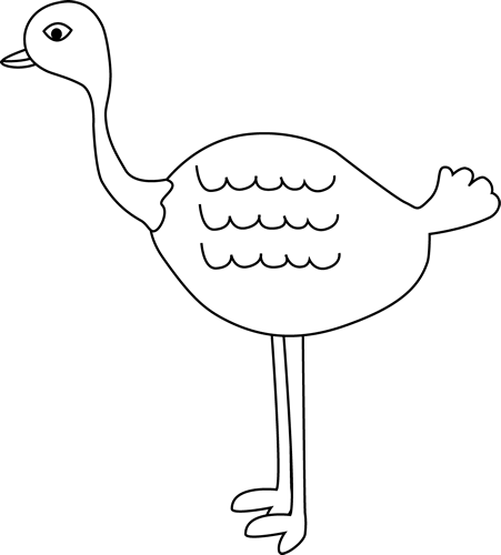 Black and White Ostrich Clip Art.