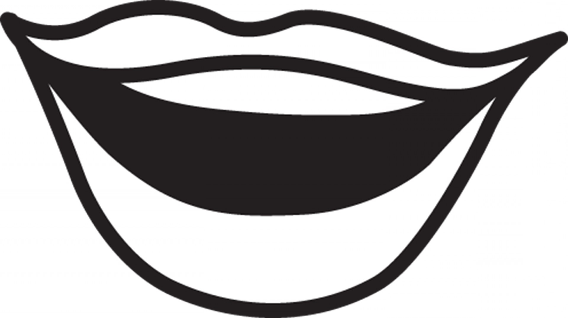 black and white clipart outline lips