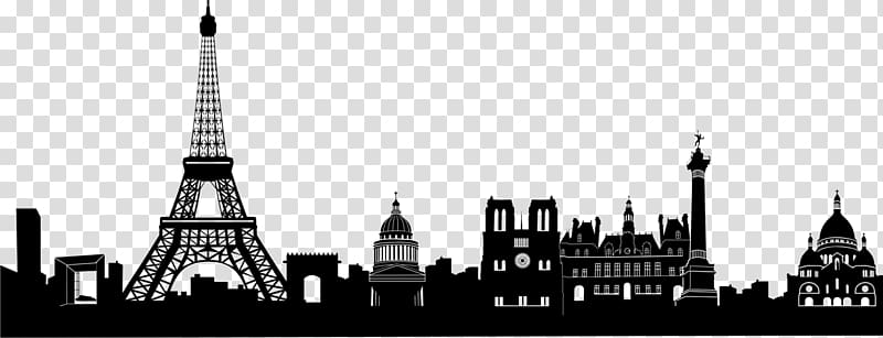 White and black city illustration, Eiffel Tower Skyline.