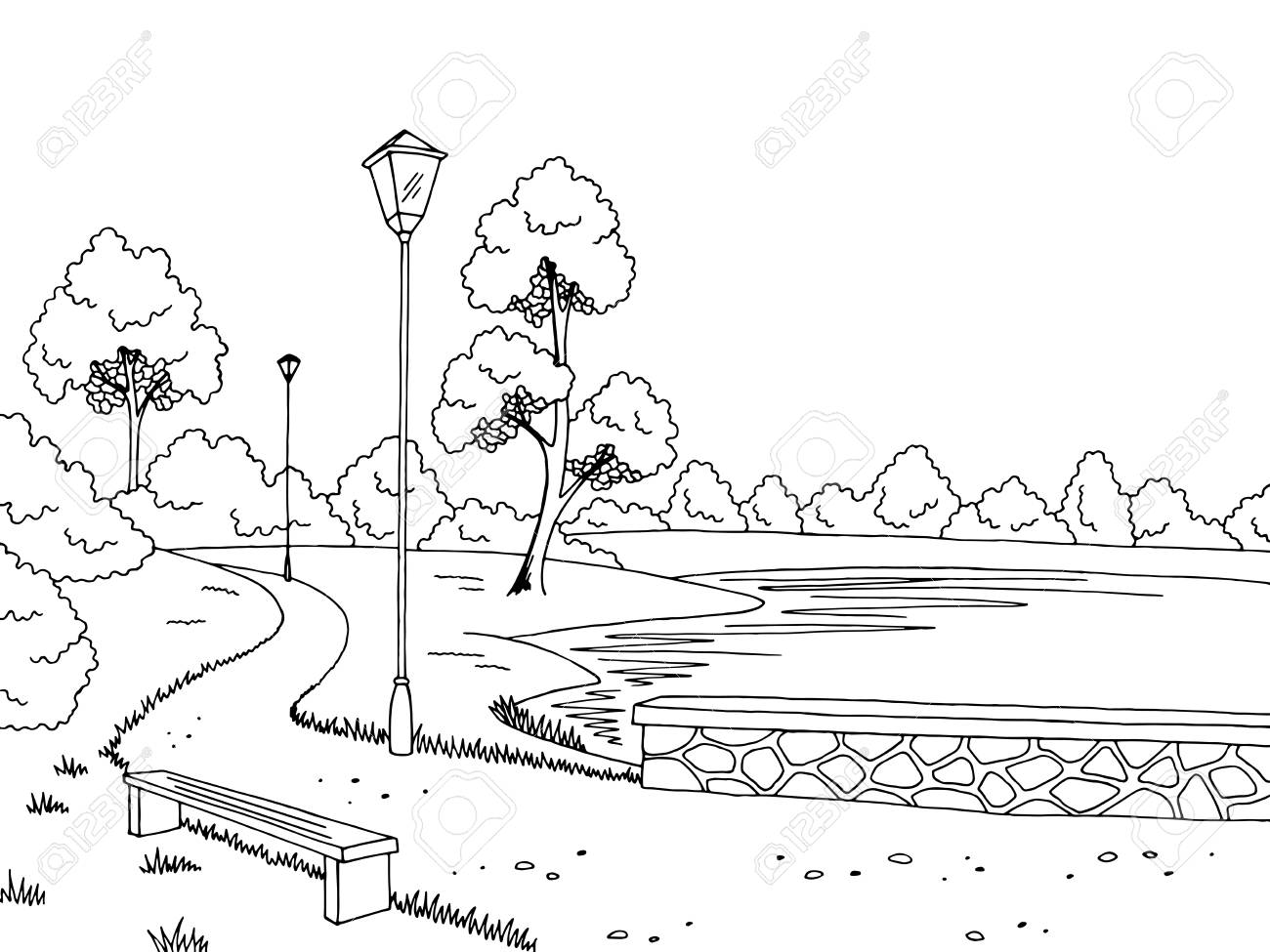 In The Park Clipart Black And White.