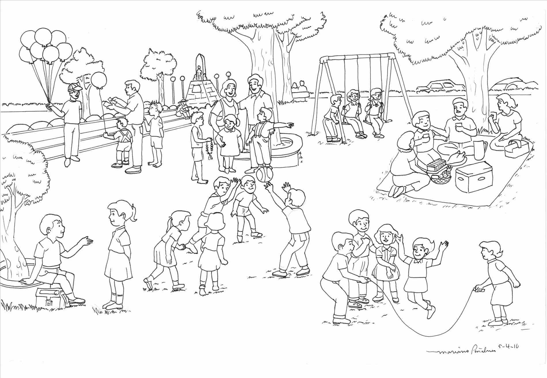 Park Scene Clipart Black And White.